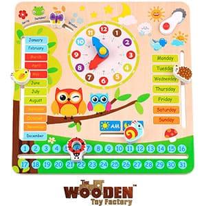 The Wooden Toy Factory - Reloj Calendario Educativo EN Ingles